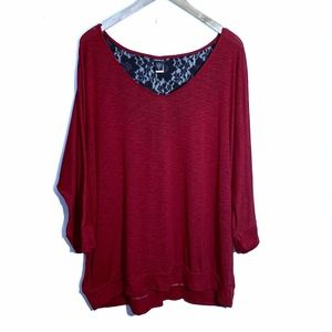 Torrid Knitted Top Size 3 Red Black Lace Detail